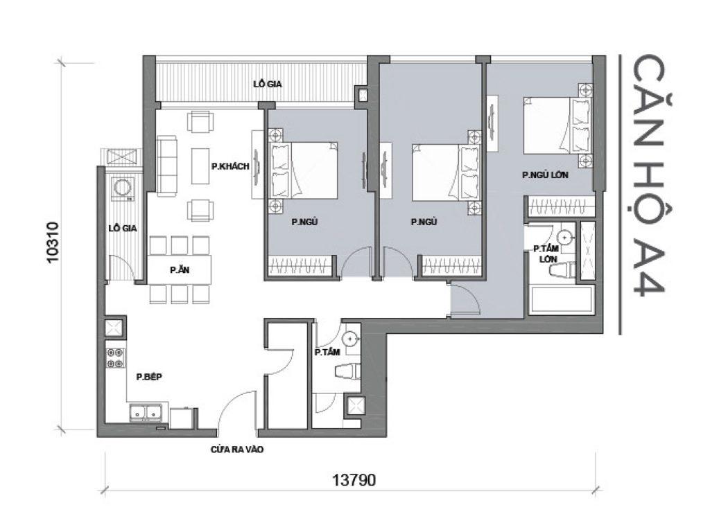 mặt bằng căn hộ 3 phòng ngủ Park 6A căn số 04