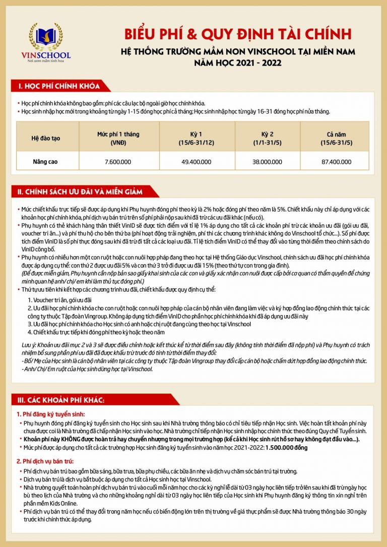 Biểu phí học Vinschool lớp mầm non21-22