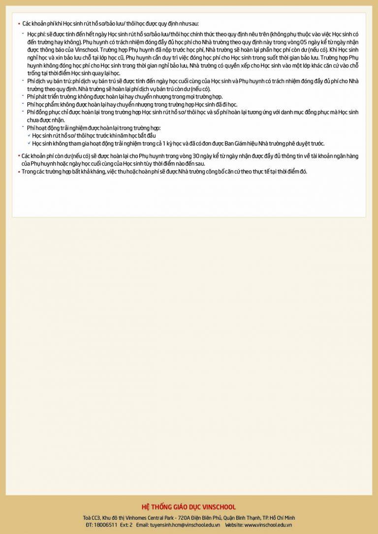 Biểu phí học mầm non Vinschool 21-22