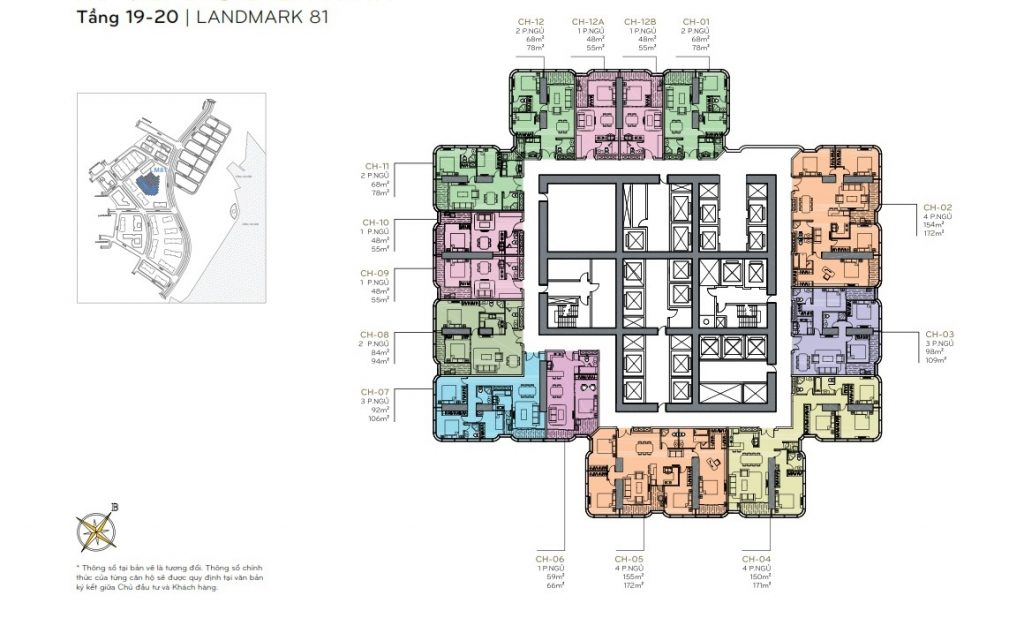 Layout tầng 19 - 20 the Landmark 81