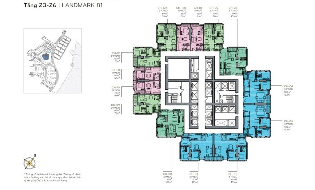 Layout tầng 23 - 26 the Landmark 81