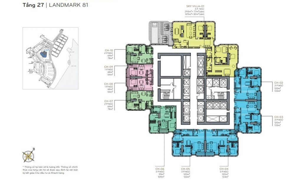 Layout tầng 27 the Landmark 81