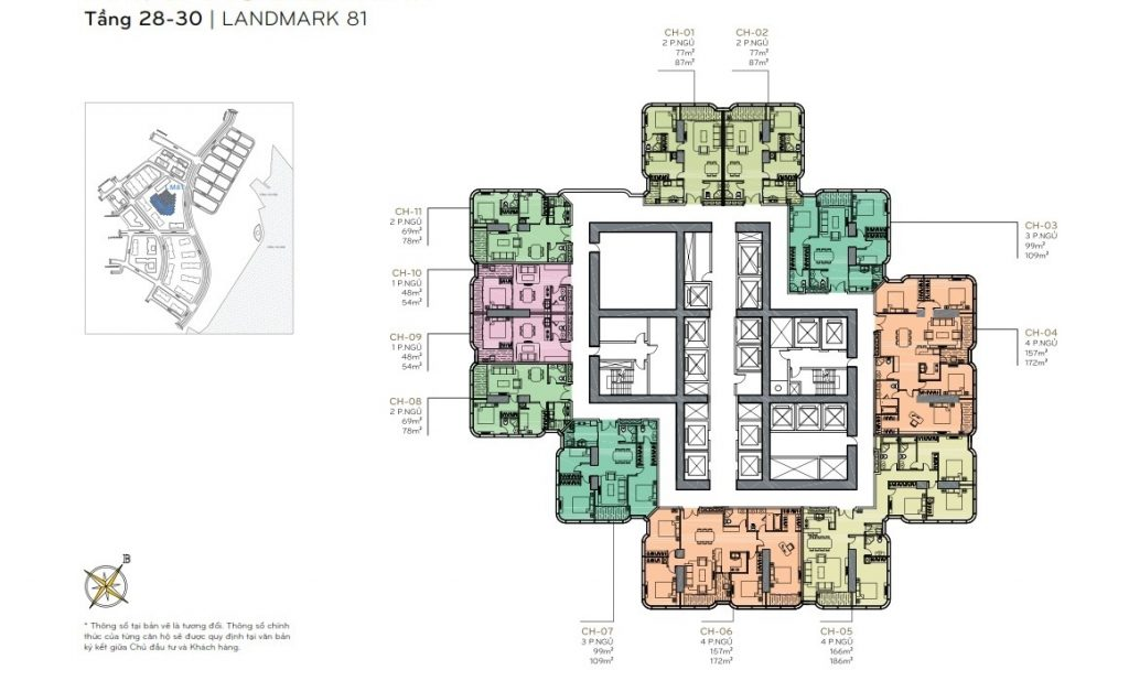 Layout tầng 28 - 30 the Landmark 81
