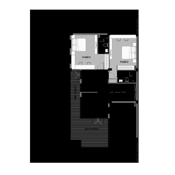 Mặt bằng tầng 2 biệt thự loại 3 Vinhomes Central Park
