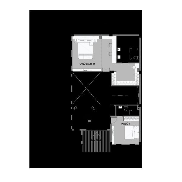 Mặt bằng tầng 1 biệt thự song lập loại 2 Vinhomes Central Park