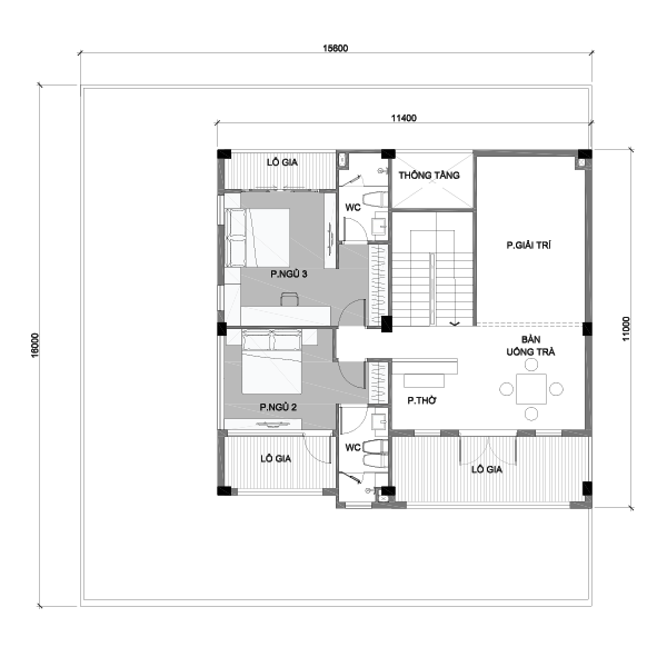 Mặt bằng tầng 2 biệt thự Vinhomes Central Park