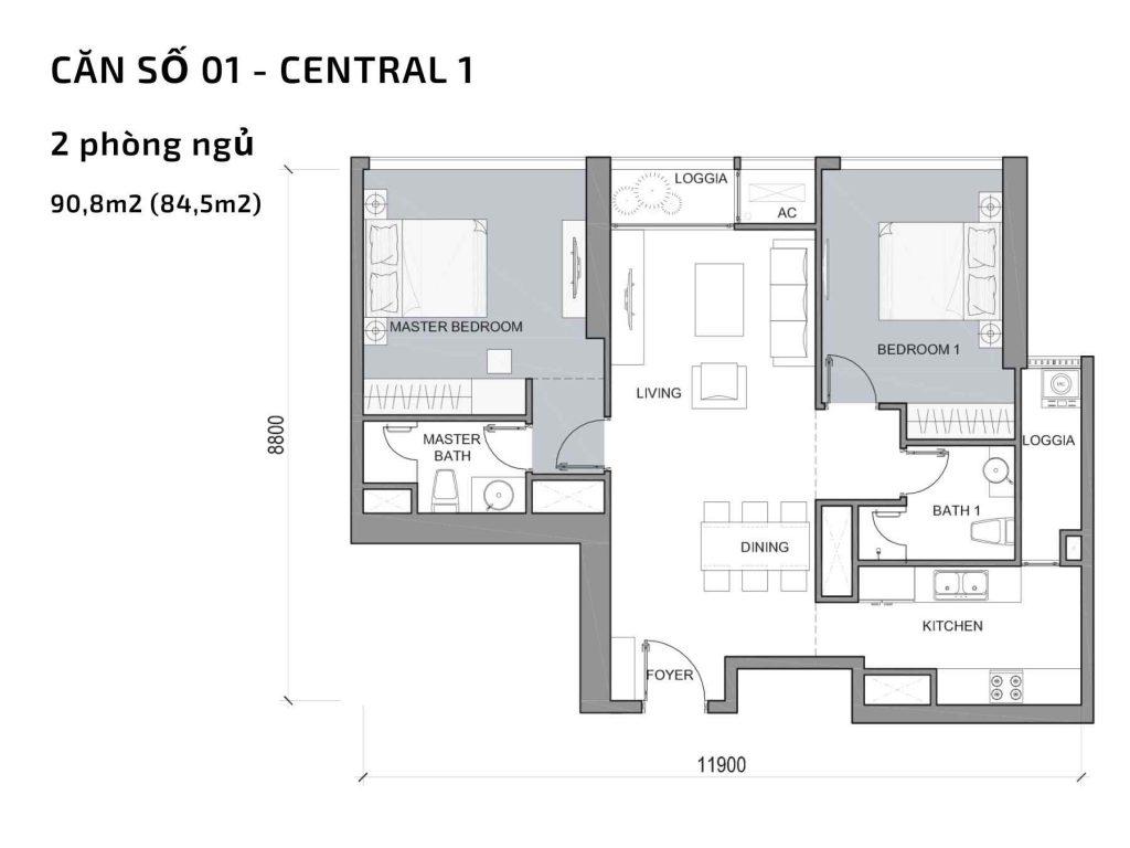 Mặt bằng căn hộ số 01 Central 1