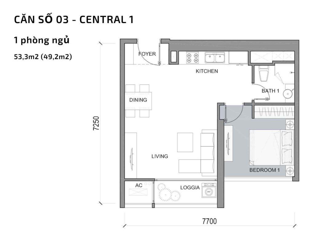 Mặt bằng căn hộ số 03 Central 1