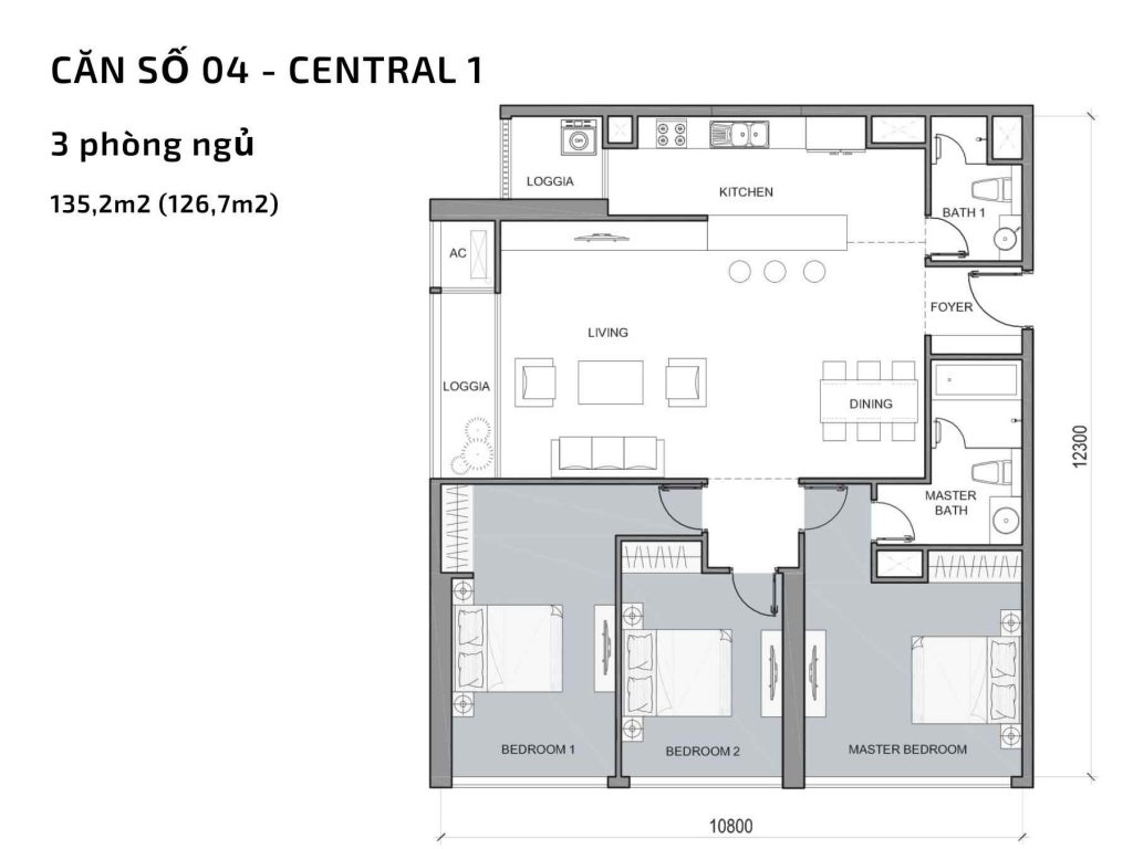 Mặt bằng căn hộ số 04 Central 1