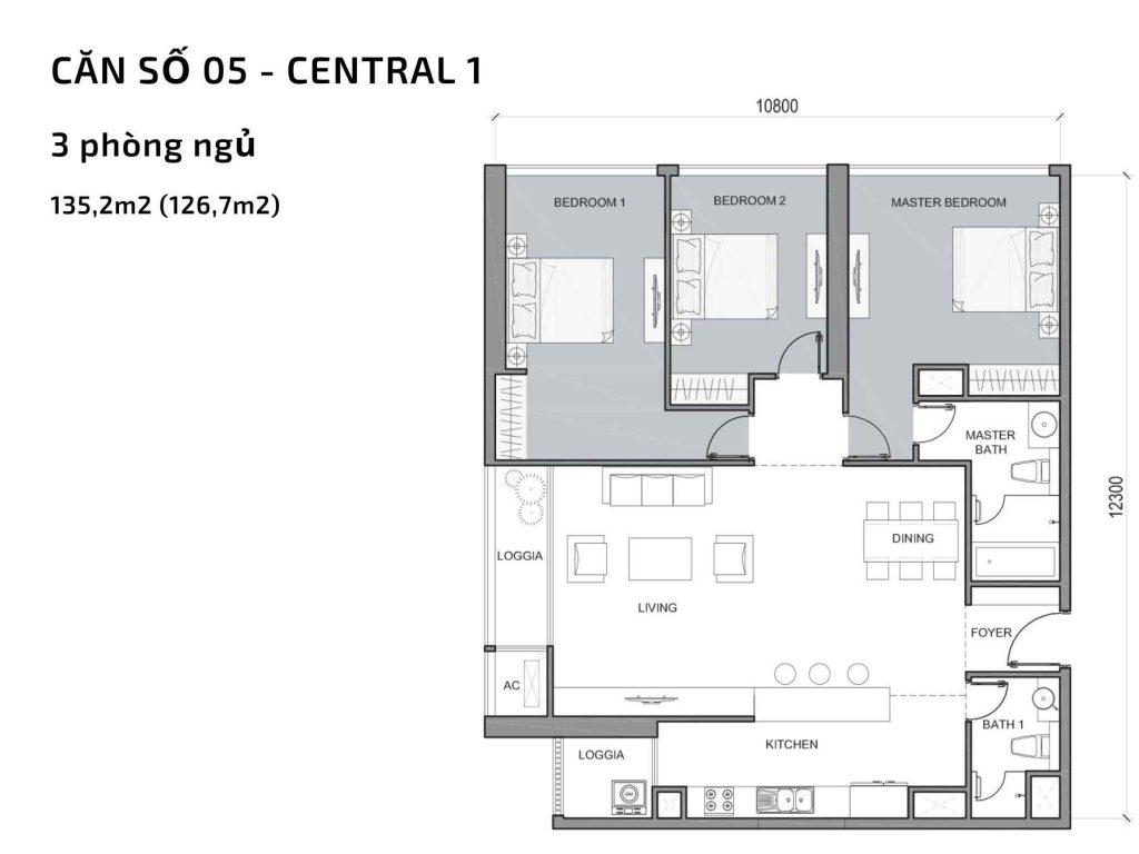 Mặt bằng căn hộ số 05 Central 1