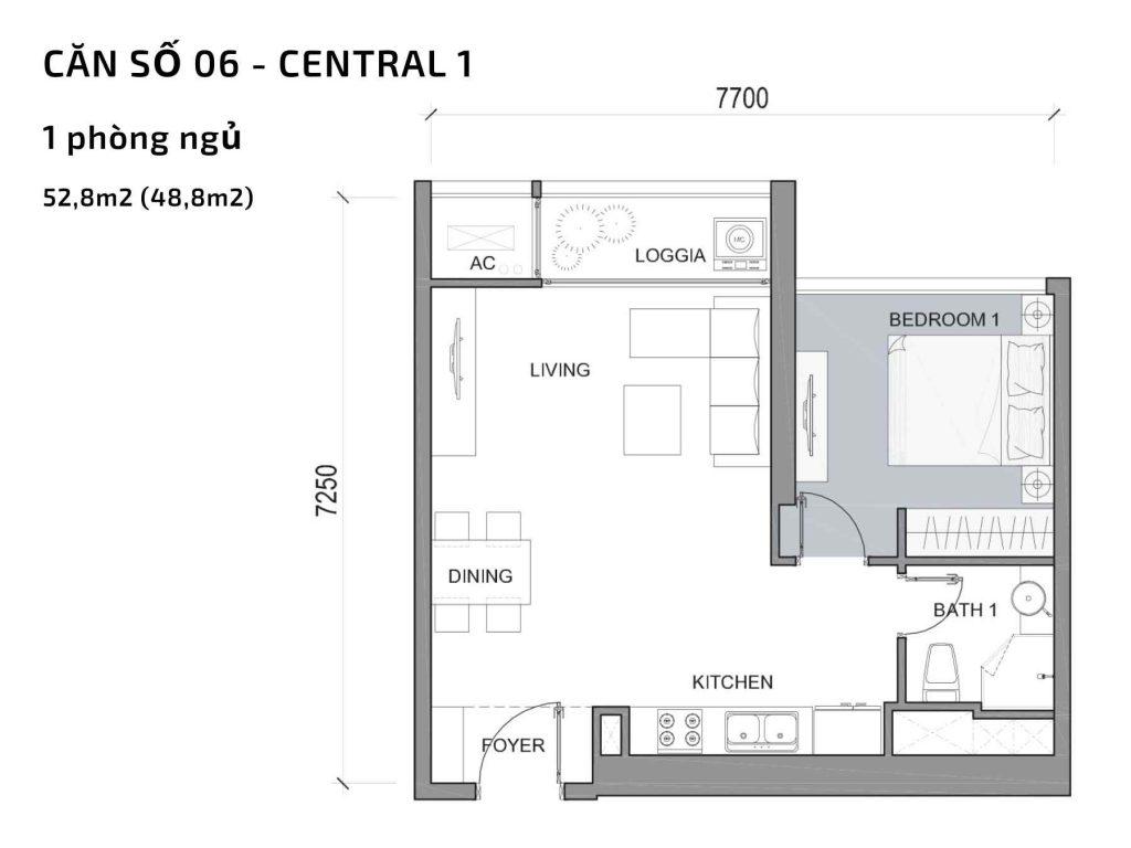 Mặt bằng căn hộ số 06 Central 1