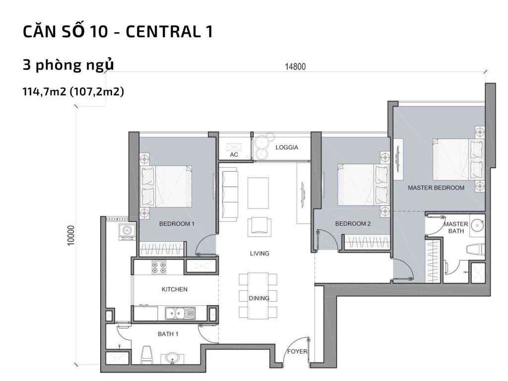 Mặt bằng căn hộ số 10 Central 1