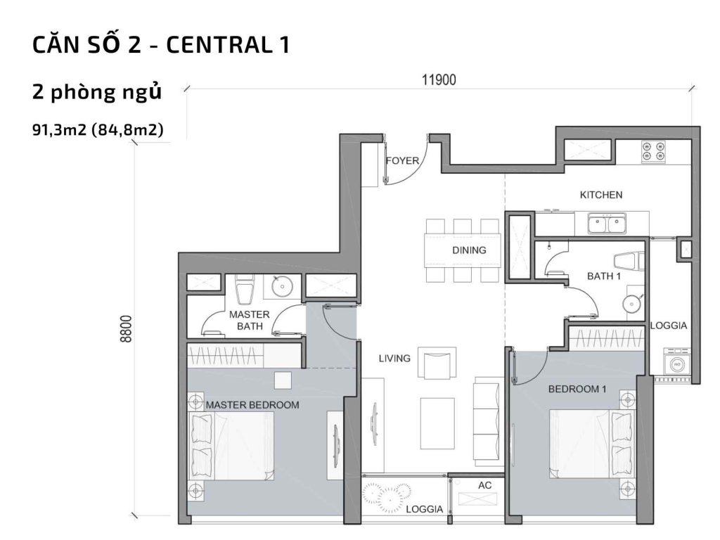 Mặt bằng căn hộ số 02 Central 1