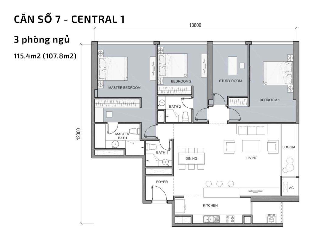 Mặt bằng căn hộ số 07 Central 1
