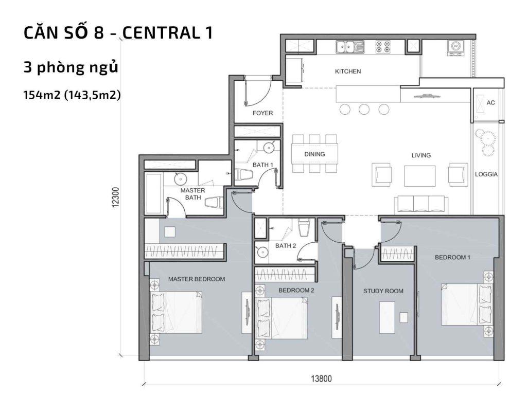 Mặt bằng căn hộ số 08 Central 1