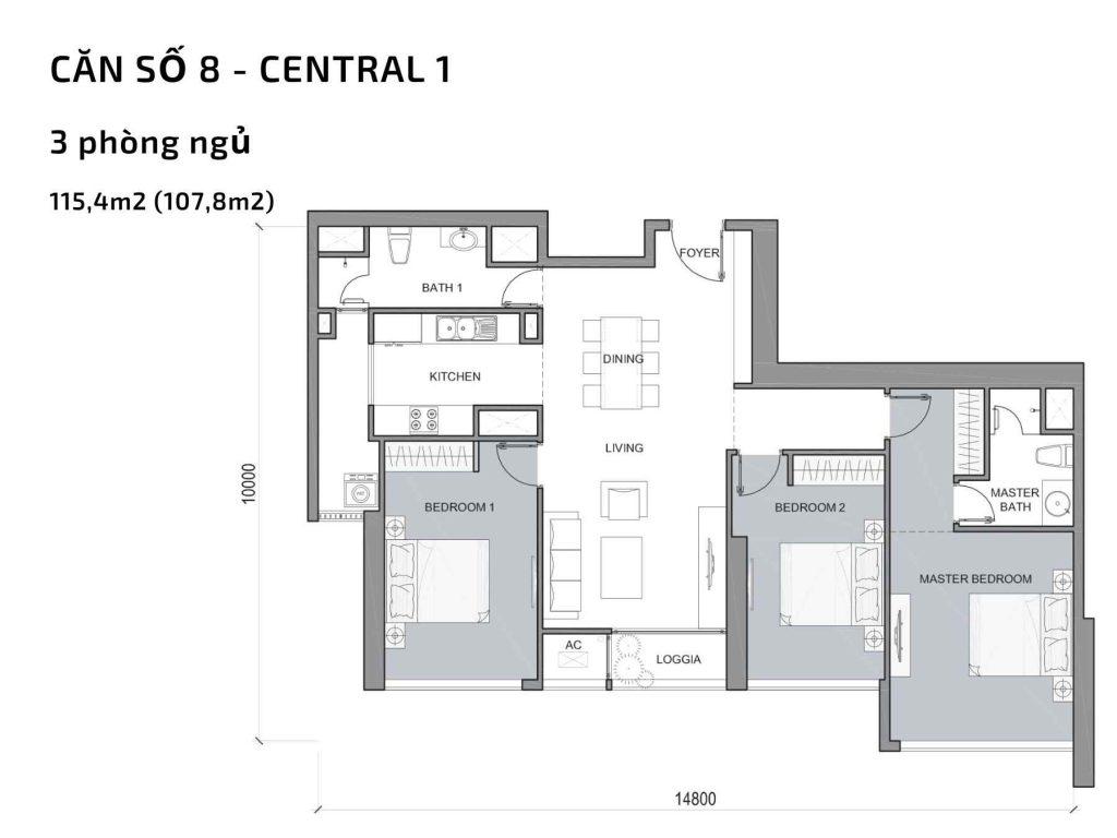 Mặt bằng căn hộ số 09 Central 1