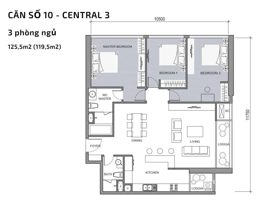 Mặt bằng căn hộ số 10 Central 3 Vinhomes Central Park
