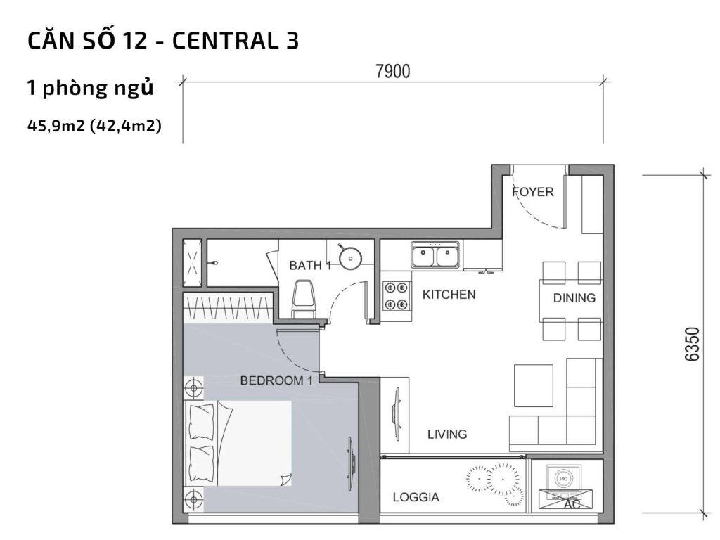 Mặt bằng căn hộ số 12 Central 3 Vinhomes Central Park
