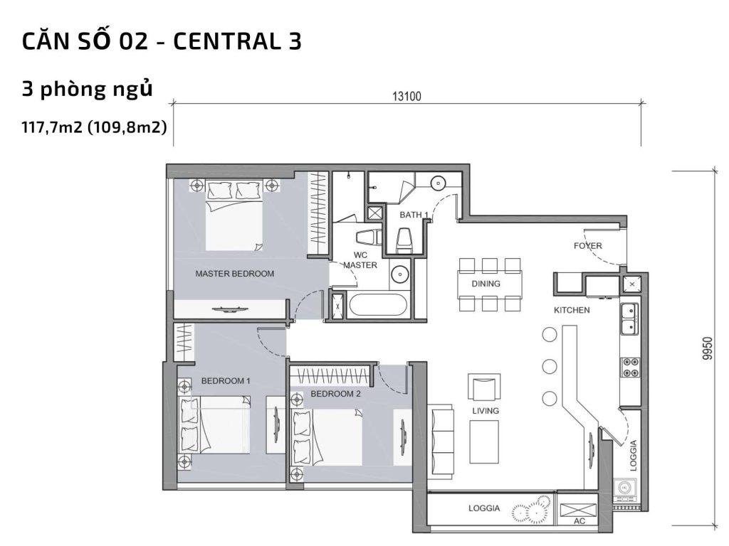 Mặt bằng căn hộ số 2 Central 3 Vinhomes Central Park
