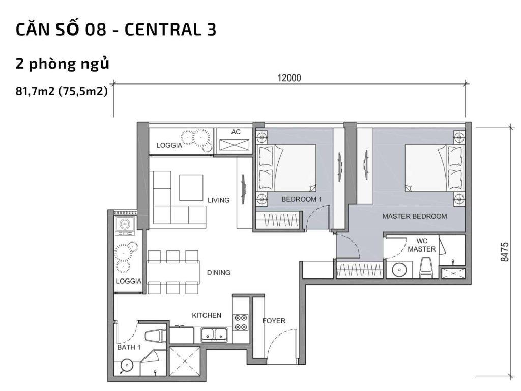 Mặt bằng căn hộ số 8 Central 3 Vinhomes Central Park