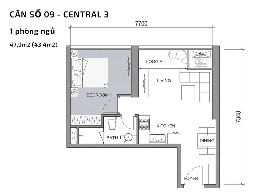 Mặt bằng căn hộ số 09 Central 3 Vinhomes Central Park