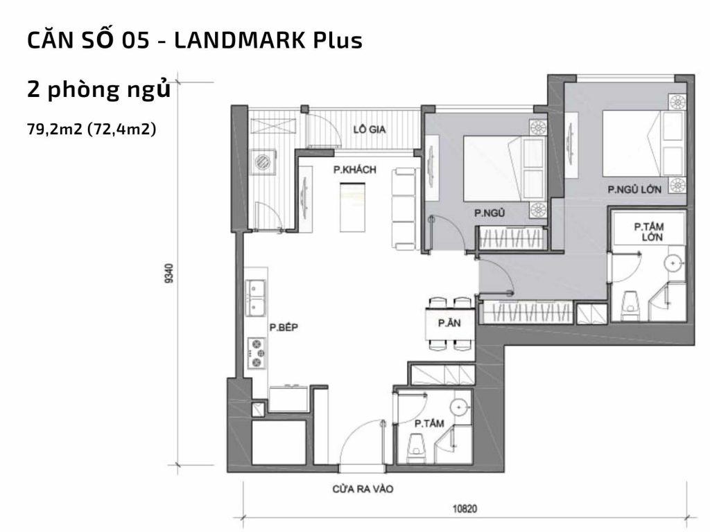 Mặt bằng căn hộ số 05 Landmark Plus Vinhomes Central Park