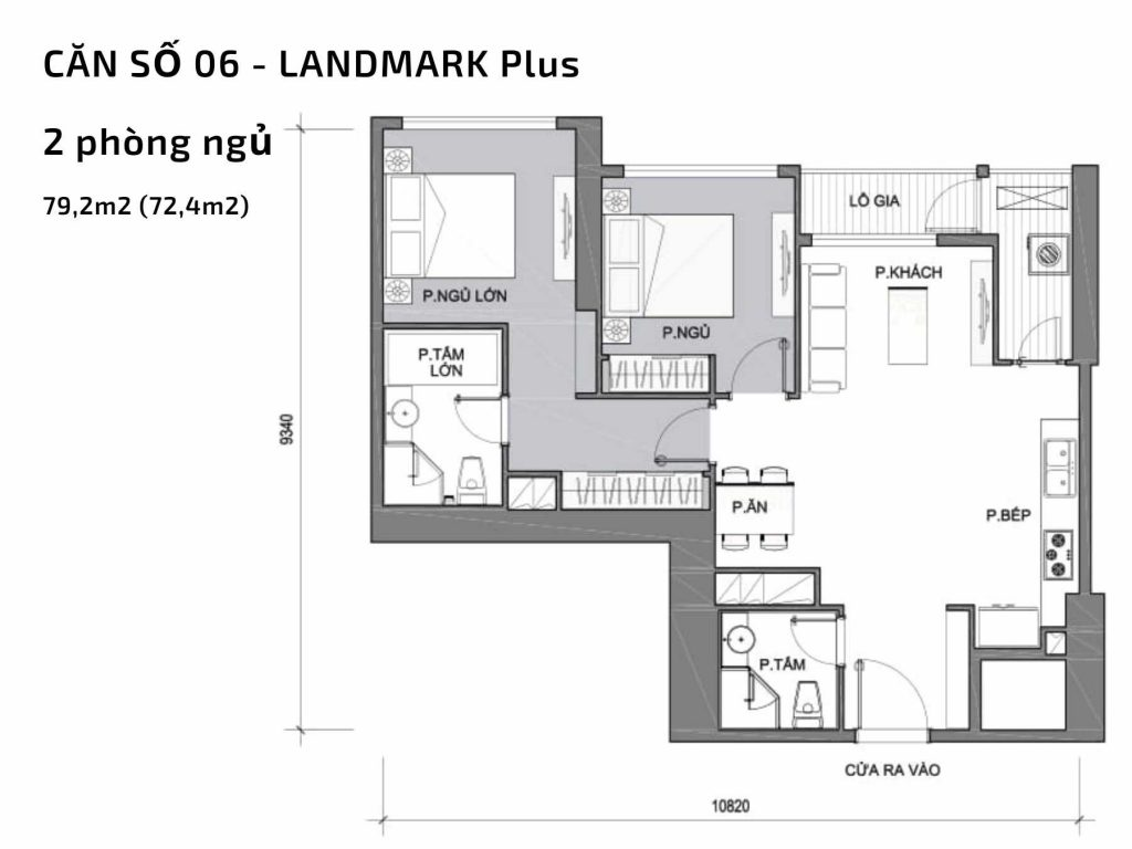 Mặt bằng căn hộ số 06 Landmark Plus Vinhomes Central Park