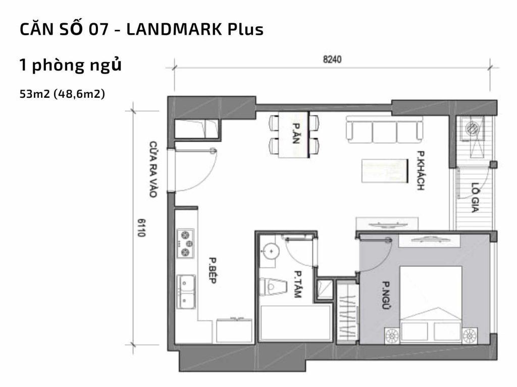 Mặt bằng căn hộ số 07 Landmark Plus Vinhomes Central Park