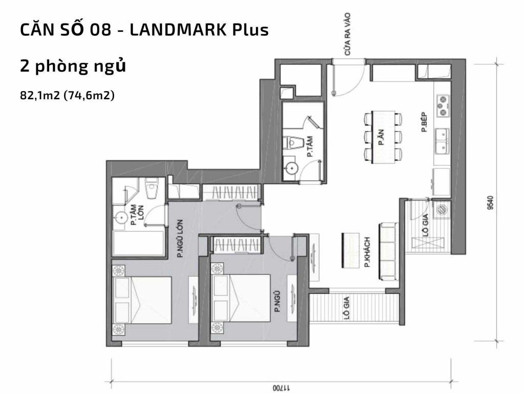 Mặt bằng căn hộ số 08 Landmark Plus Vinhomes Central Park