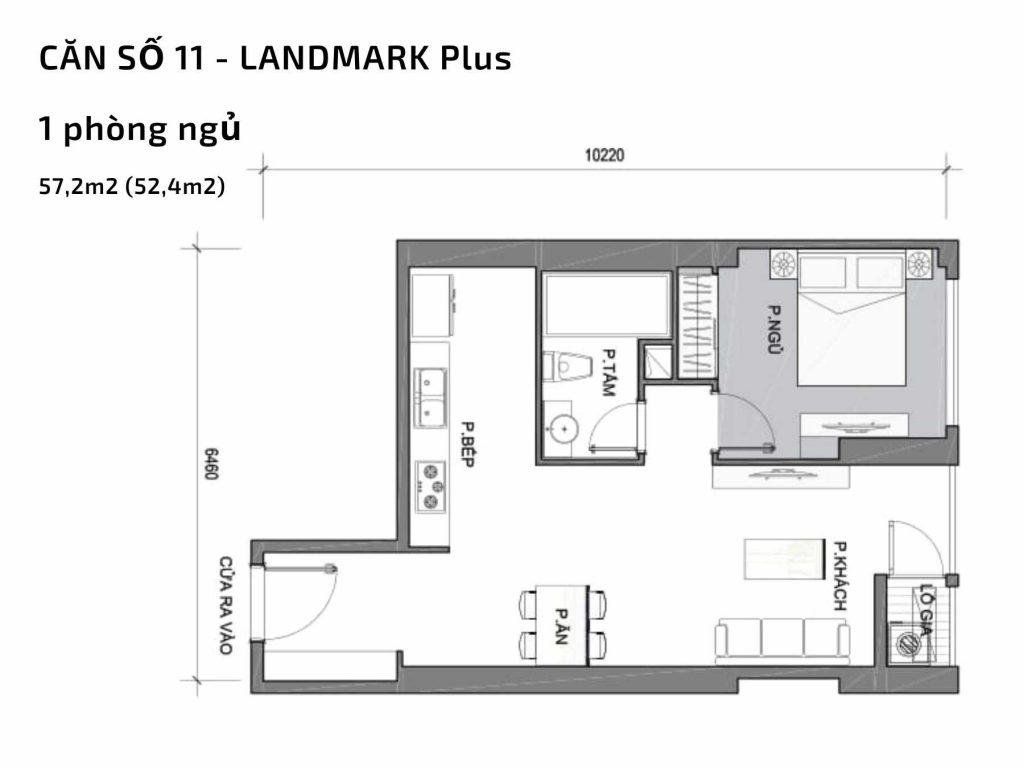 Mặt bằng căn hộ số 11 Landmark Plus Vinhomes Central Park
