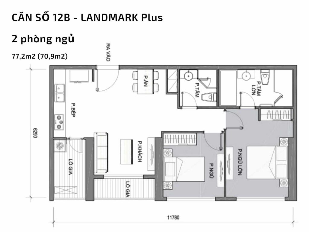 Mặt bằng căn hộ số 12B Landmark Plus Vinhomes Central Park