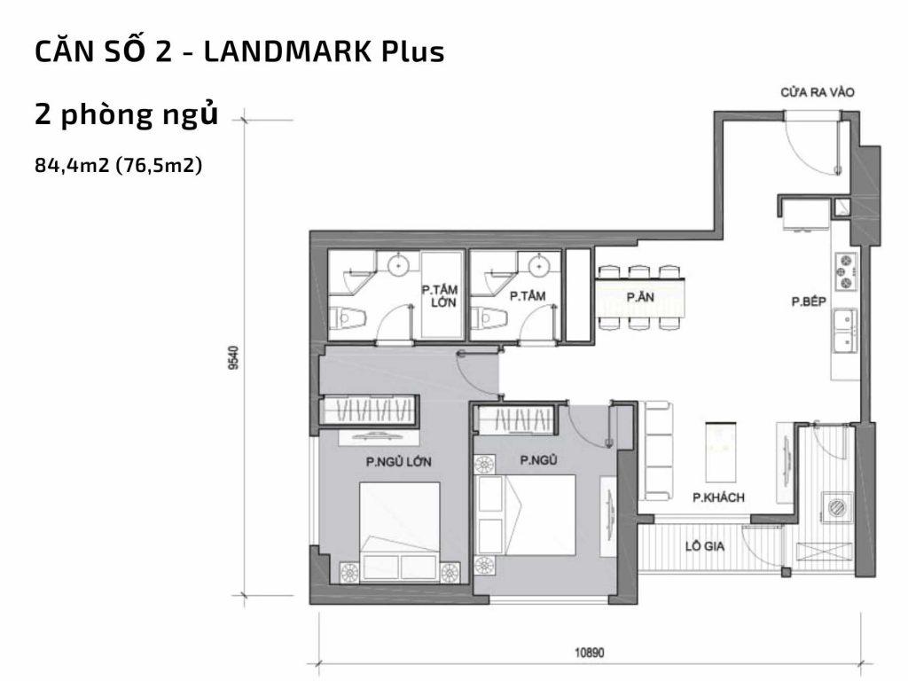 Mặt bằng căn hộ số 02 Landmark Plus Vinhomes Central Park