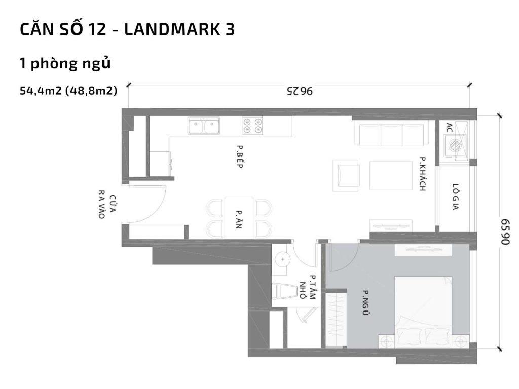 Mặt bằng căn hộ số 12 Landmark 3 Vinhomes Central Park