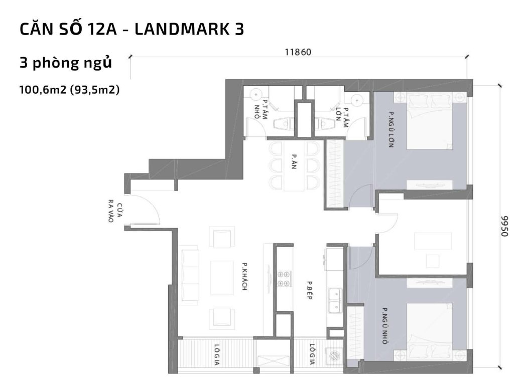 Mặt bằng căn hộ số 12A Landmark 3 Vinhomes Central Park
