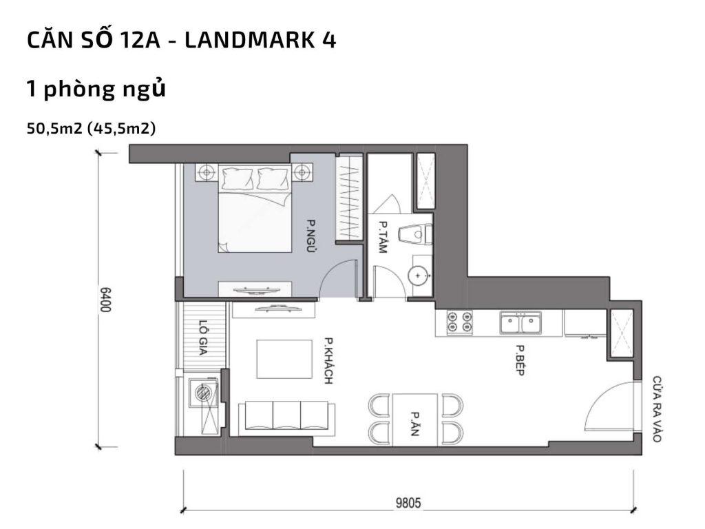 Mặt bằng căn hộ số 12A Landmark 4 Vinhomes Central Park
