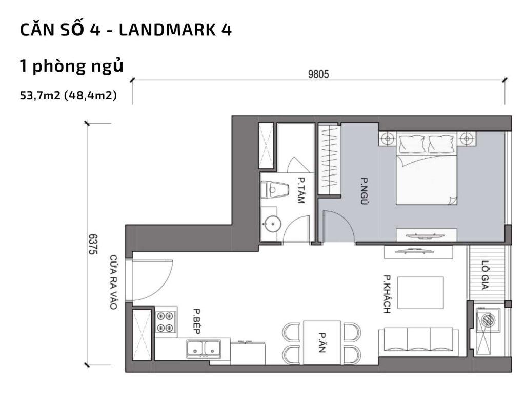 Mặt bằng căn hộ số 04 Landmark 4 Vinhomes Central Park