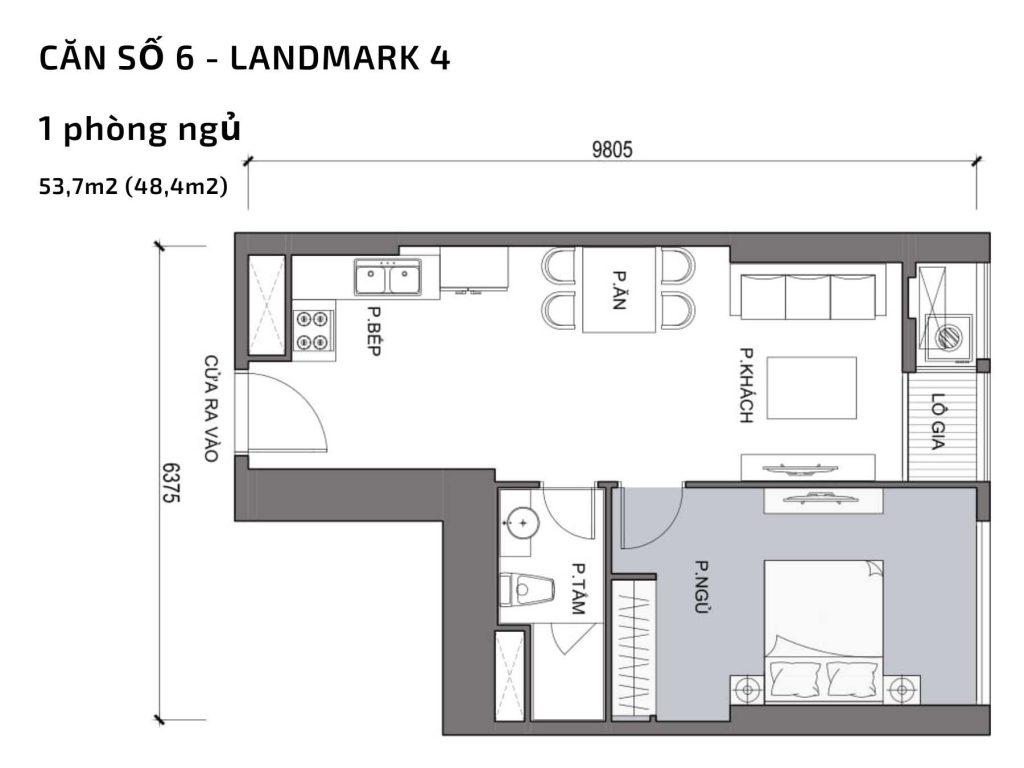 Mặt bằng căn hộ số 06 Landmark 4 Vinhomes Central Park