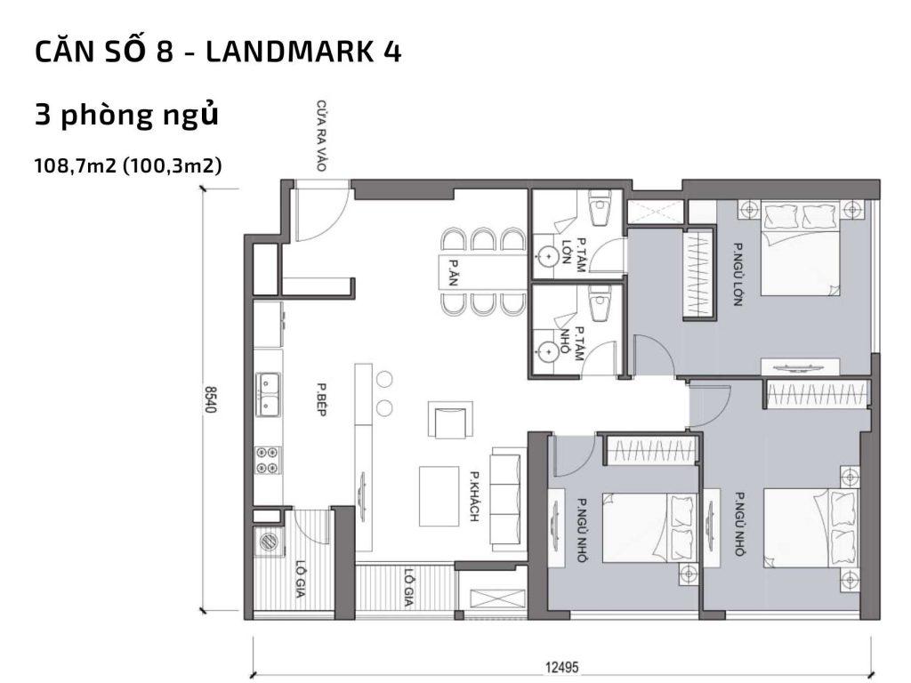 Mặt bằng căn hộ số 08 Landmark 4 Vinhomes Central Park