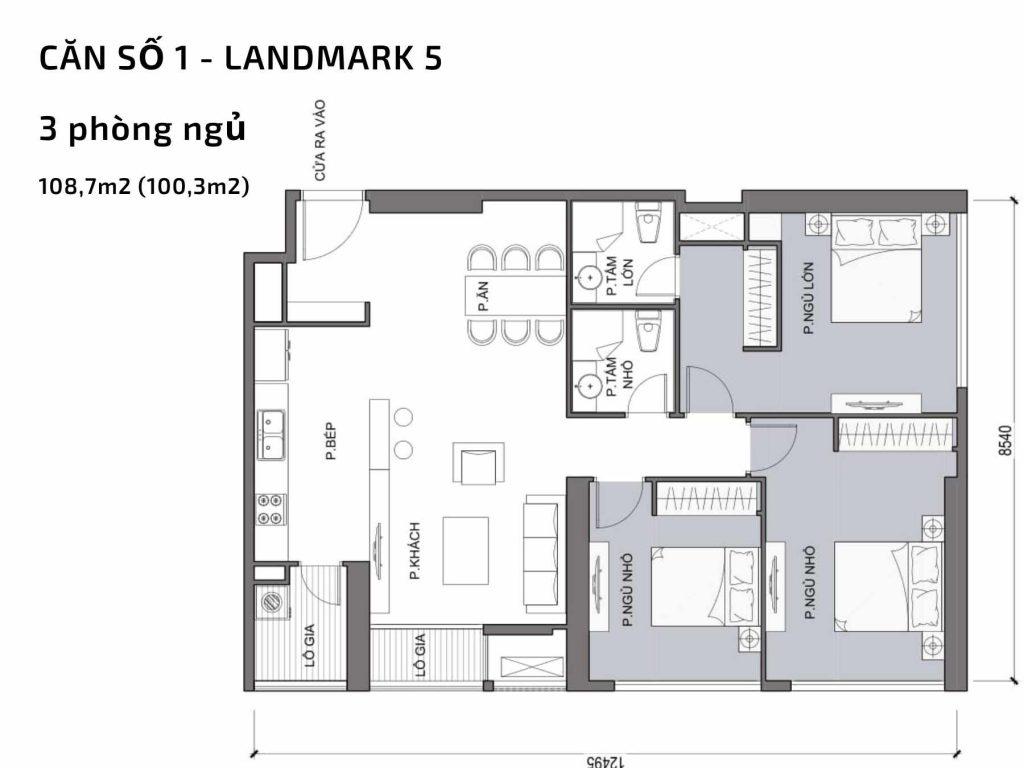 Mặt bằng căn hộ số 01 Landmark 5 Vinhomes Central Park