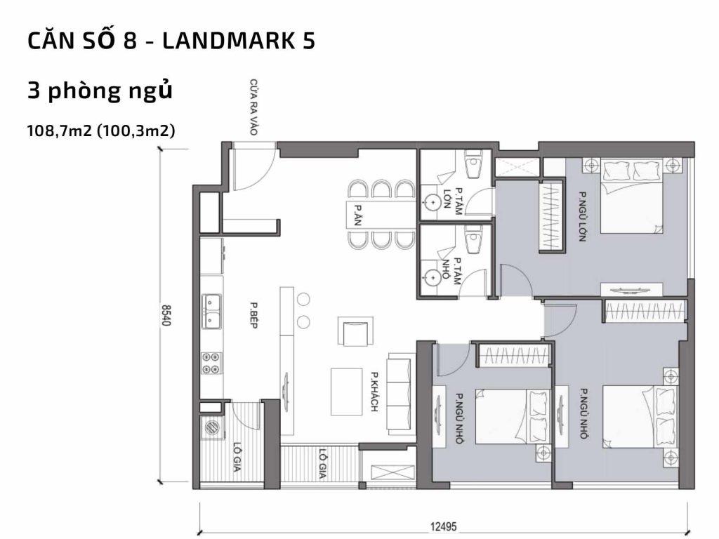 Mặt bằng căn hộ số 08 Landmark 5 Vinhomes Central Park