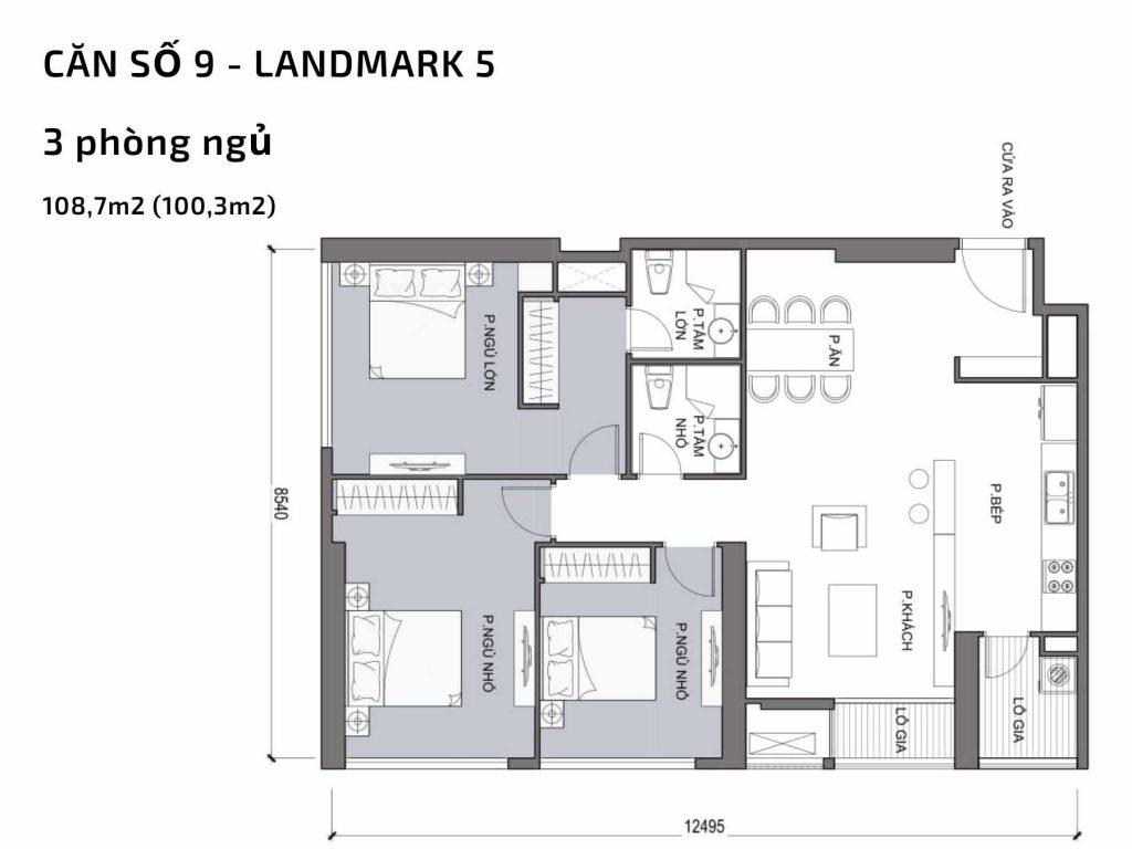 Mặt bằng căn hộ số 09 Landmark 5 Vinhomes Central Park