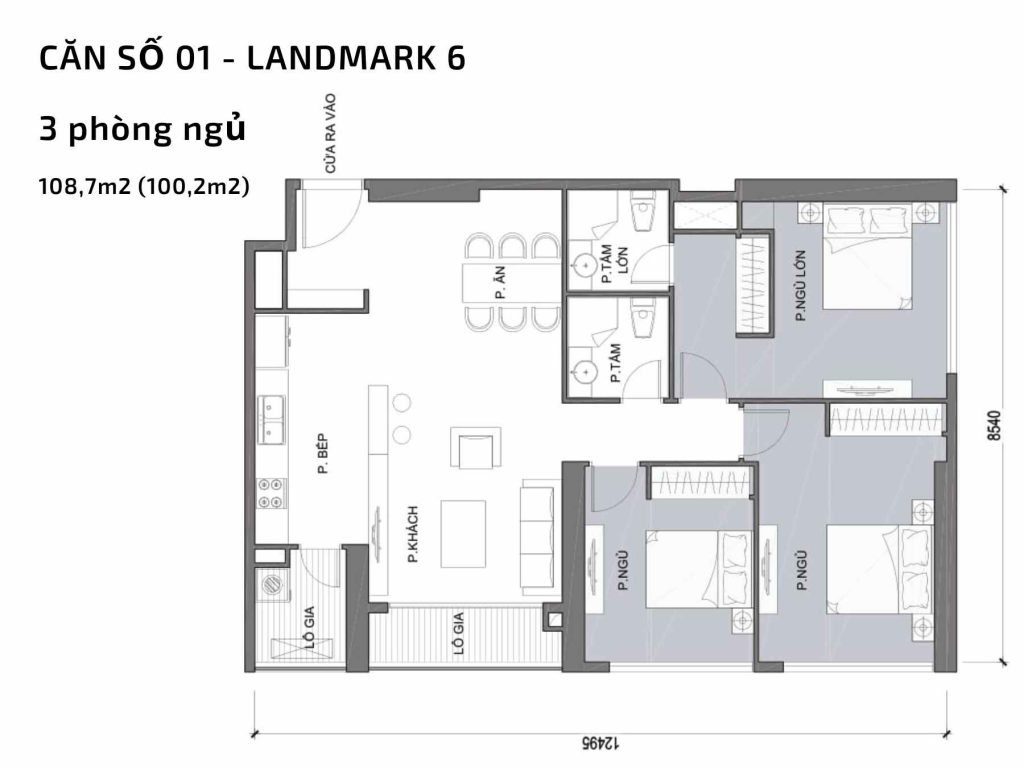 Mặt bằng căn hộ số 01  Landmark 6 Vinhomes Central Park