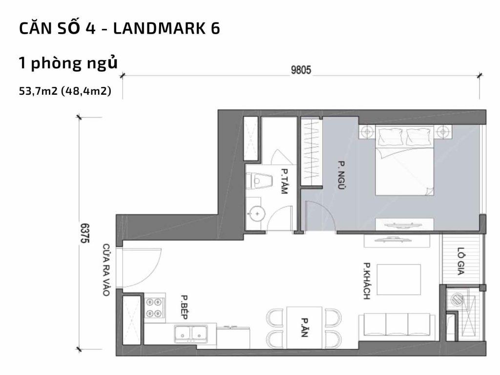 Mặt bằng căn hộ số 04 Landmark 6 Vinhomes Central Park