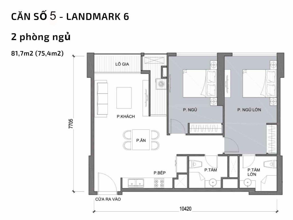 Mặt bằng căn hộ số 05Landmark 6 Vinhomes Central Park