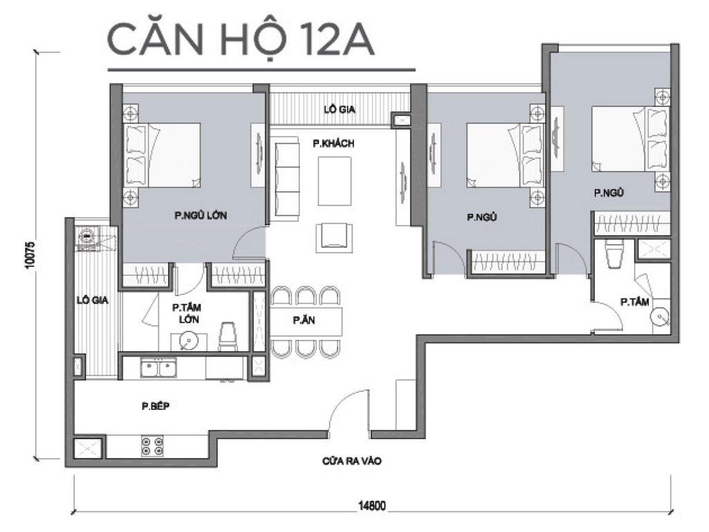 Mặt bằng căn hộ số 12A Park 1