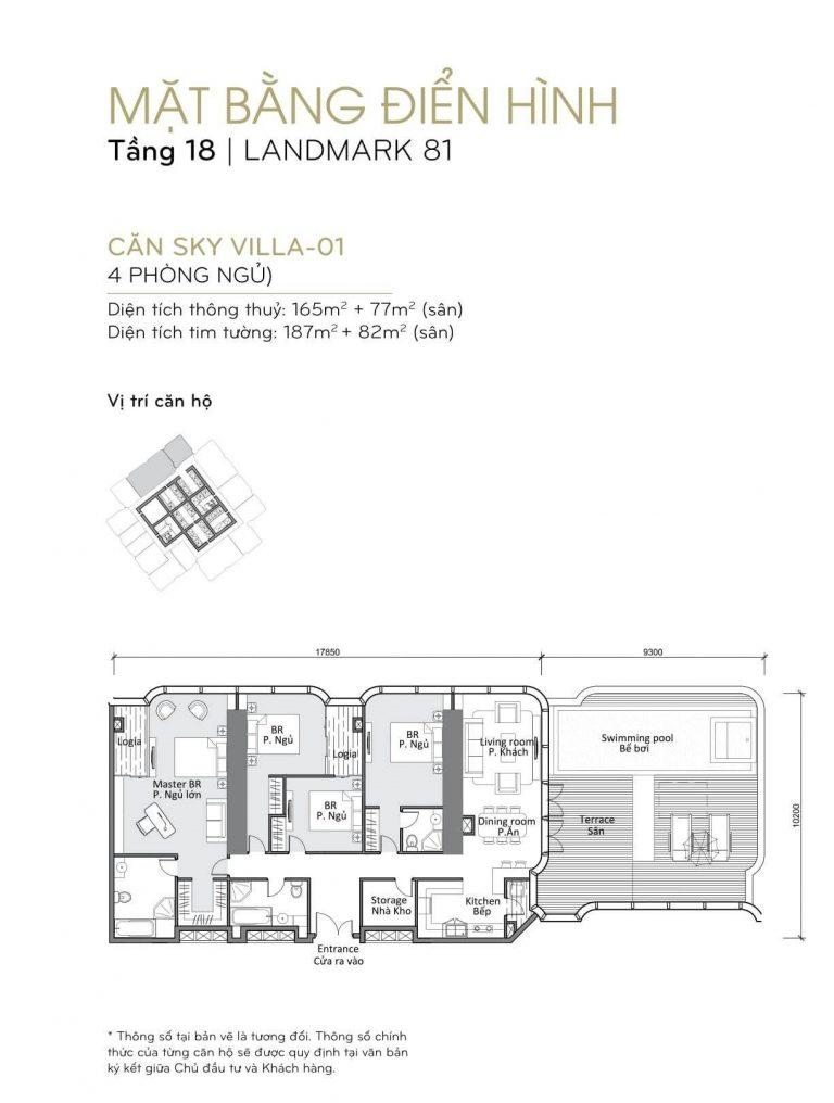 mặt bằng skyvilla - penthouse Landmark 81 Tầng 18