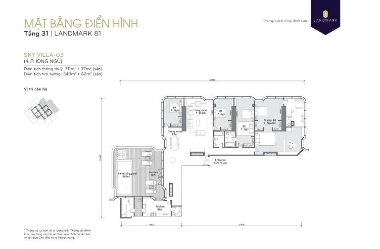 mặt bằng skyvilla - penthouse Landmark 81 Tầng 31