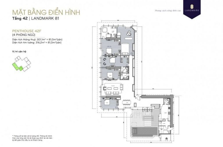 mặt bằng skyvilla - penthouse Landmark 81 Tầng 42