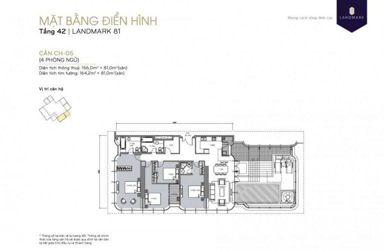 mặt bằng skyvilla - penthouse Landmark 81 Tầng 42- CH05