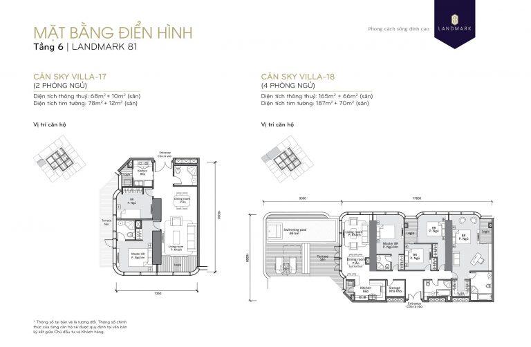 mặt bằng skyvilla - penthouse Landmark 81 Tầng 6